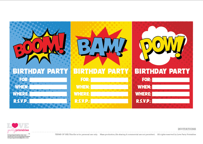 Superhero Invitation Template Free Free Superhero Party Printables
