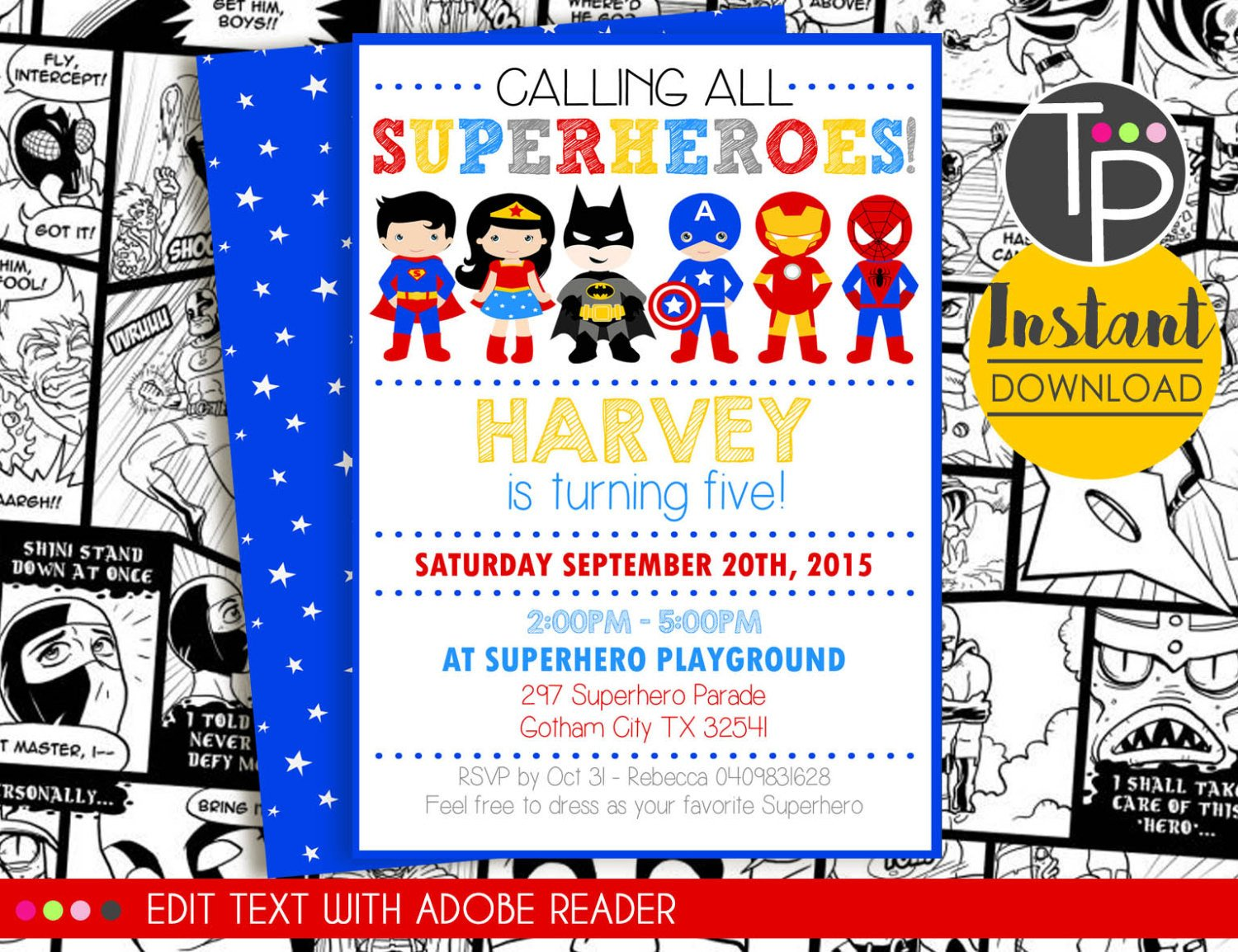 Superhero Invitation Template Free Instant Download Superhero Invitation Superhero Party