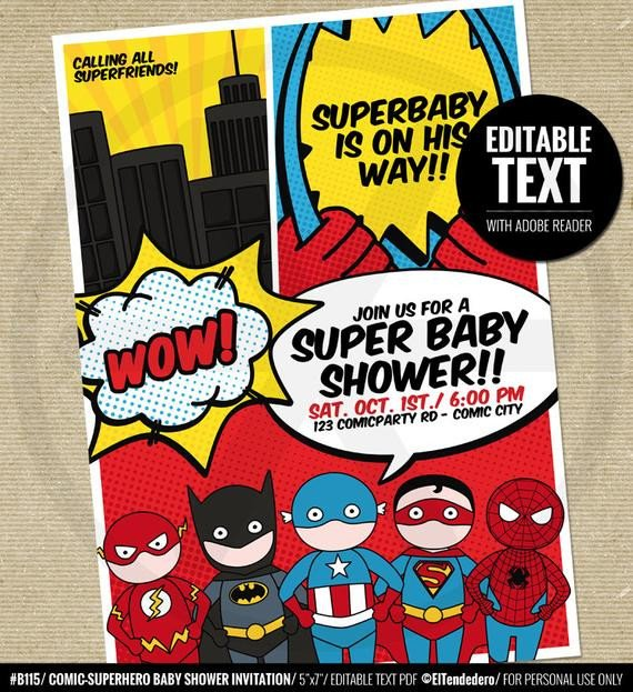 Superhero Invitation Template Free Superhero Baby Shower Invitation Printable Baby by Eltendedero