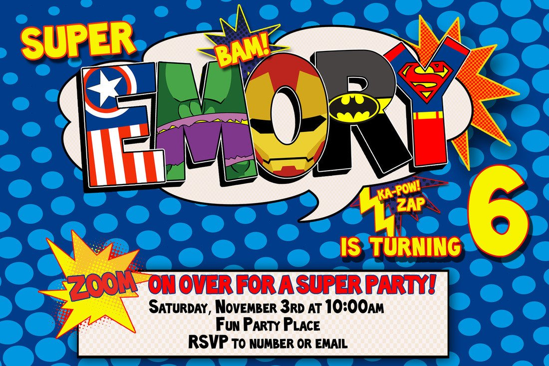 Superhero Invitation Template Free Superhero Birthday Invitation Templates