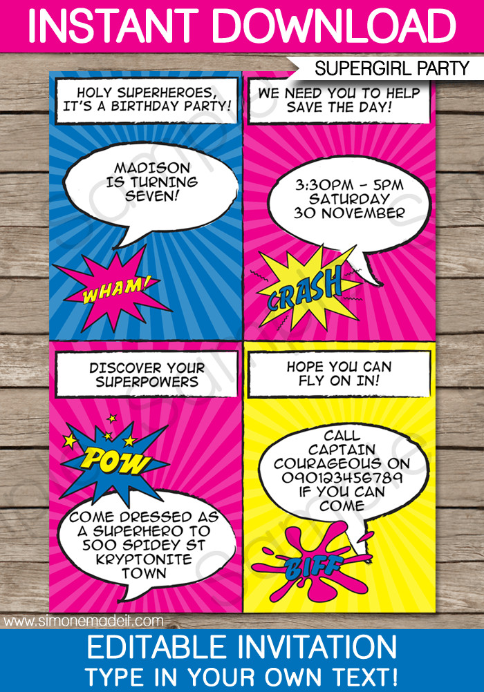 Superhero Invitation Template Free Superhero Girl Party Invitations Template