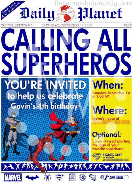 Superhero Invitation Template Free Superhero Newspaper Birthday Invitation the Scrap Shoppe