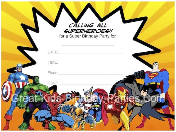 Superhero Invitation Template Free Superhero Printables