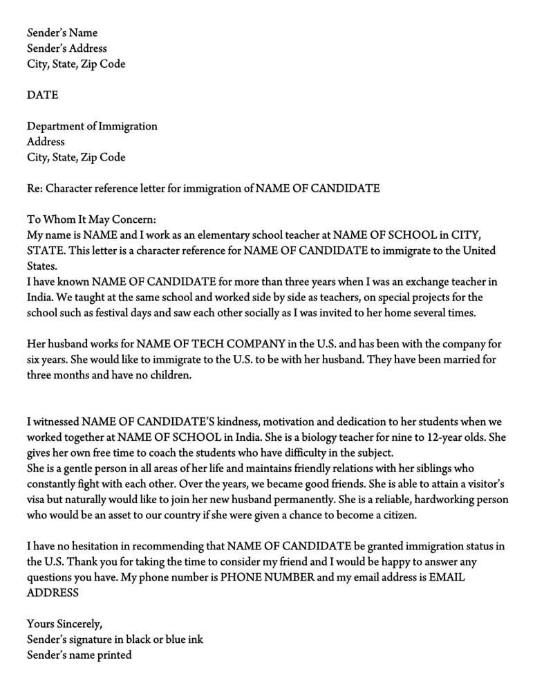 Support Letter for Immigration Letter Of Support for Immigration 10 Sample Reference