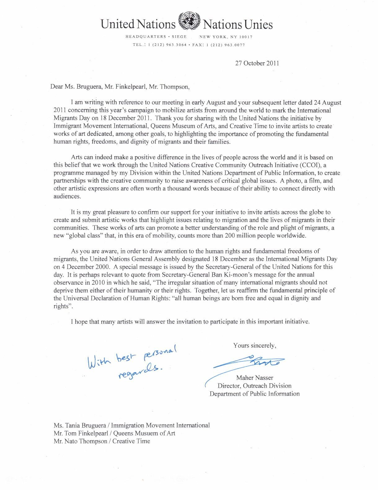 Support Letter for Immigration United Nations Ficial Letter Support for Dec