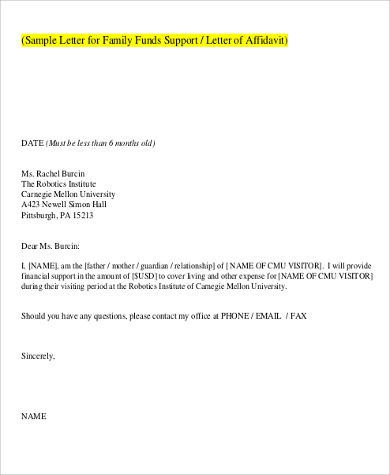 Supporting Letters for Immigration 12 Sample Affidavit Of Support Letters Pdf