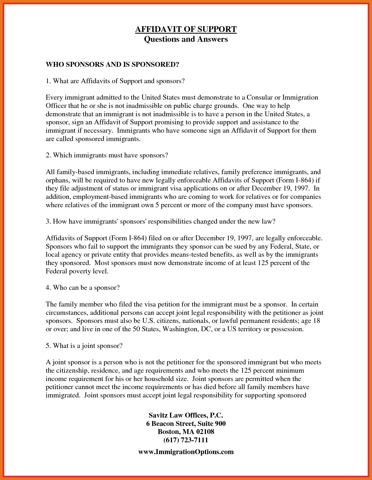 Supporting Letters for Immigration 2 3 Sample Of Affidavit Of Support