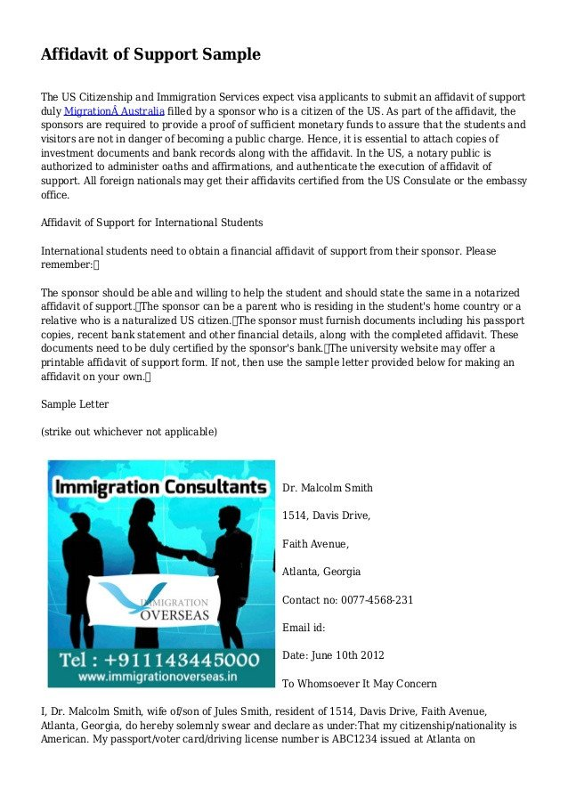 Supporting Letters for Immigration Affidavit Of Support Sample