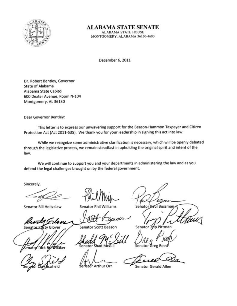 Supporting Letters for Immigration Senators Reiterate Support for Alabama Immigration Law