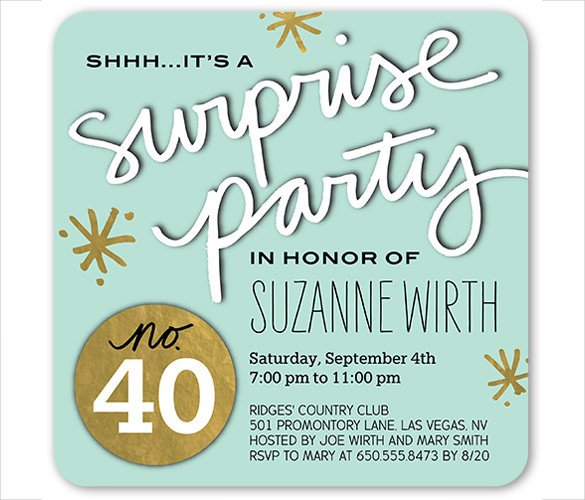 Surprise Party Invitation Template 26 Surprise Birthday Invitation Templates – Free Sample