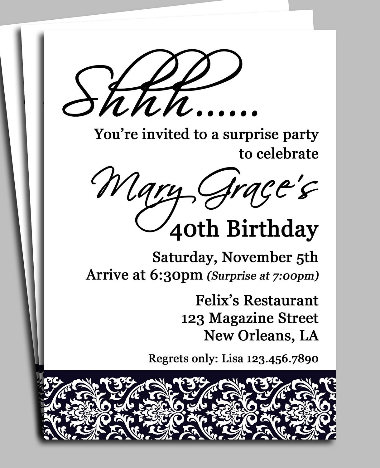 Surprise Party Invitation Template Black Damask Surprise Party Invitation Printable or Printed