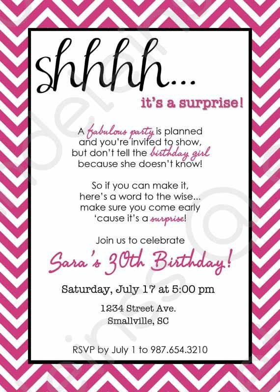 Surprise Party Invitation Template Chevron Surprise Party Invitation