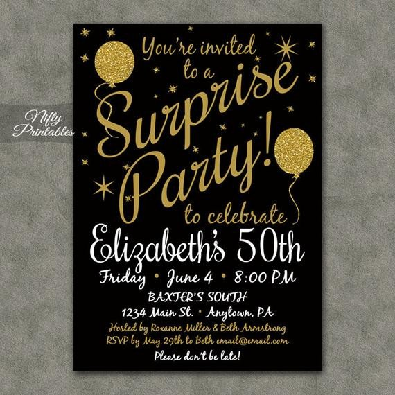 Surprise Party Invitation Template Surprise Party Invitations Printable Black & Gold Surprise