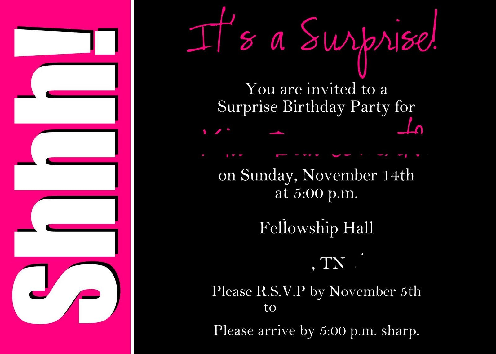 Surprise Party Invitation Templates Alicia S Delightful Designs Shhhh It S A Surprise