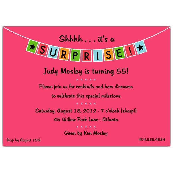 Surprise Party Invitation Templates Banner Blue Surprise Party Invitations