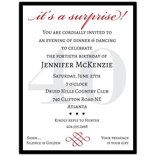 Surprise Party Invitation Templates Classic 40th Birthday Surprise Party Invitations