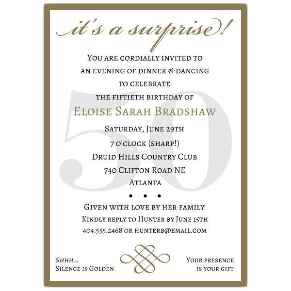Surprise Party Invitation Templates Classic 50th Birthday Gold Surprise Party Invitations