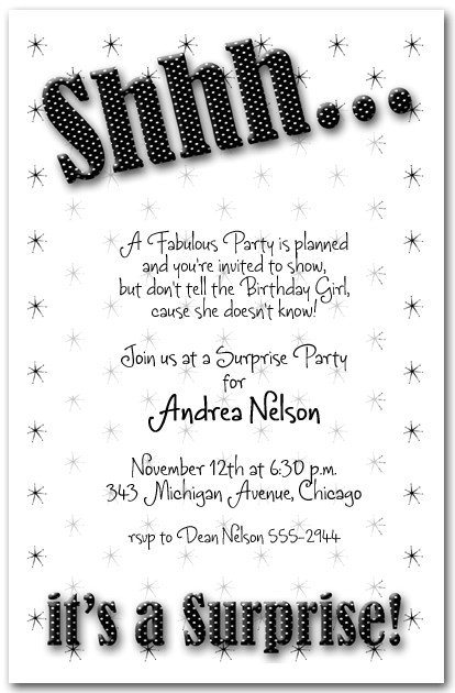 Surprise Party Invitation Templates Shhh Black Polka Dot Surprise Party Invitations Surprise