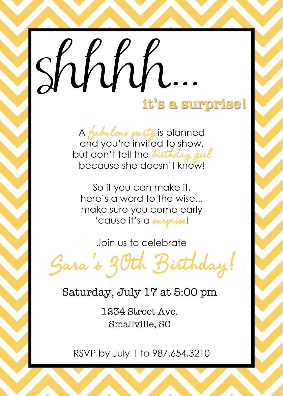 Surprise Party Invitation Templates Wording for Surprise Birthday Party