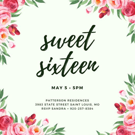 Sweet 16 Invite Template Customize 545 Sweet 16 Invitation Templates Online Canva