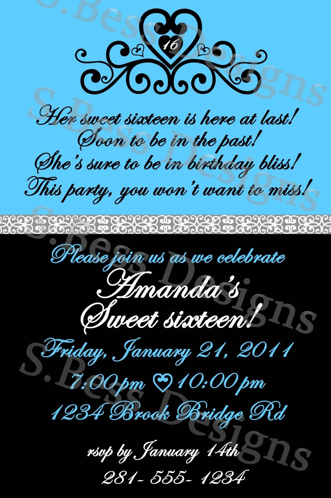 Sweet 16 Invite Template Free Sweet 16 Invitation Template