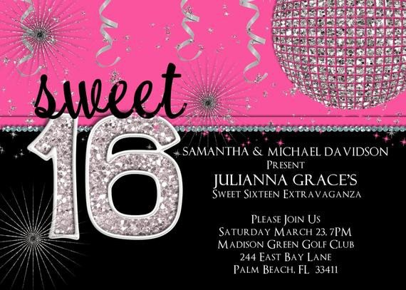 Sweet 16 Invite Template Sweet 16 Birthday Invitation Hot Pink Custom and Printable