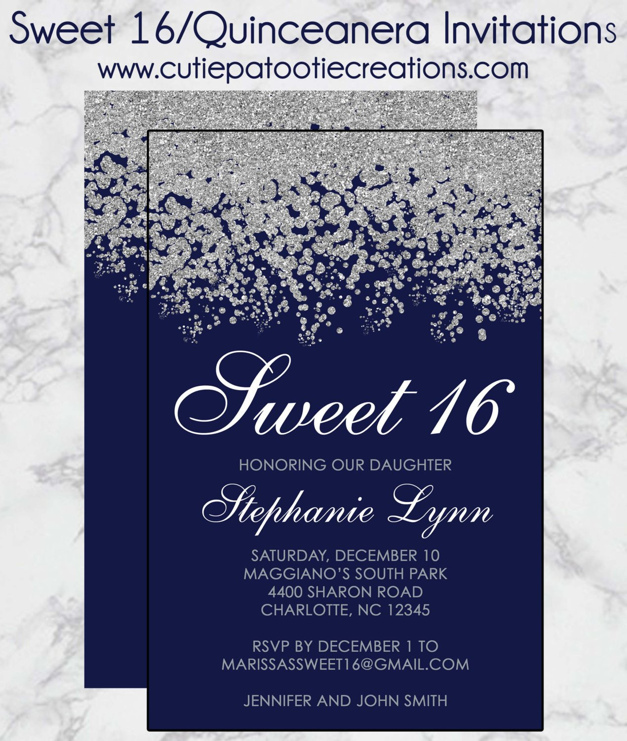 Sweet 16 Invite Template Sweet 16 Birthday Invitations Quinceanera Invitation Navy