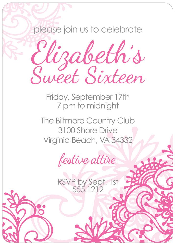 Sweet 16 Invite Template Sweet 16 Invitation Quotes Quotesgram