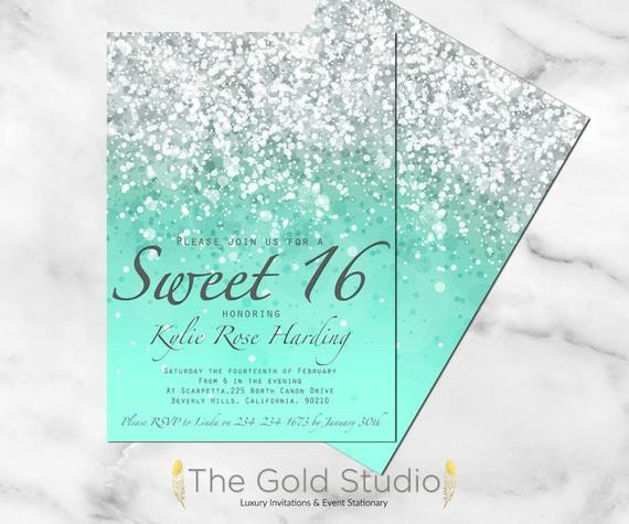 Sweet 16 Invite Template Sweet 16 Invitation Sweet Sixteen Mint Green Glitter Invite