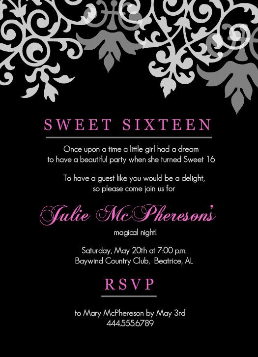 Sweet 16 Invite Template Sweet 16th Birthday Invitations Templates Free Printable