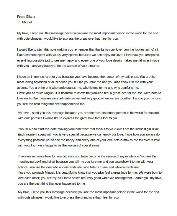 Sweet Letter to Boyfriend Sample Love Letter to Boyfriend 7 Examples In Word
