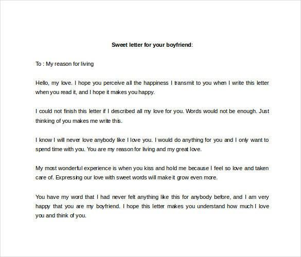 Sweet Letters to Boyfriend 9 Sample Love Letter to Boyfriend Doc Pdf