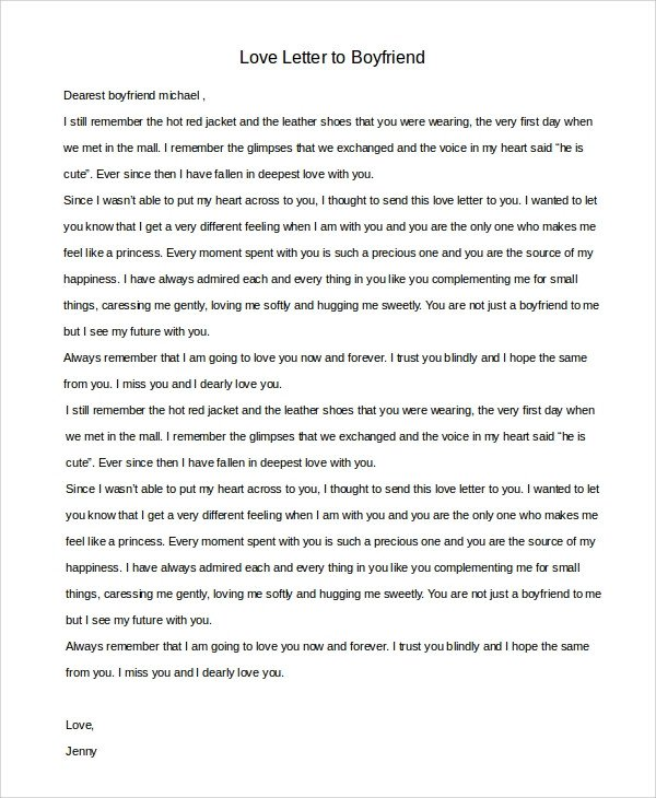 Sweet Letters to Boyfriend Sample Love Letter to Boyfriend 7 Examples In Word