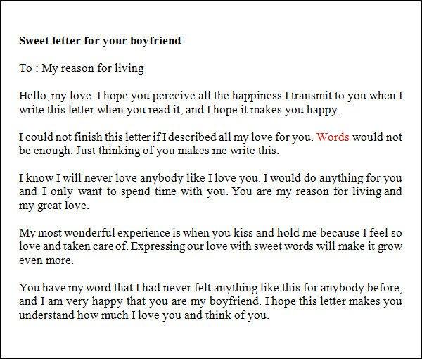Sweet Letters to Boyfriend Sample Love Letters to Boyfriend 16 Free Documents In