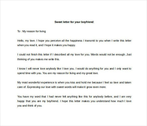 Sweet Letters to Boyfriends 9 Sample Love Letter to Boyfriend Doc Pdf