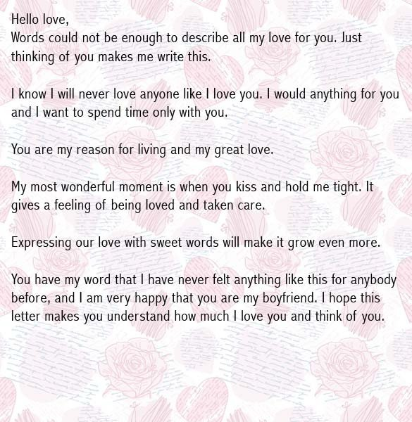 Sweet Letters to Boyfriends Love Letters for Boyfriend Romantic Love Letter for Him