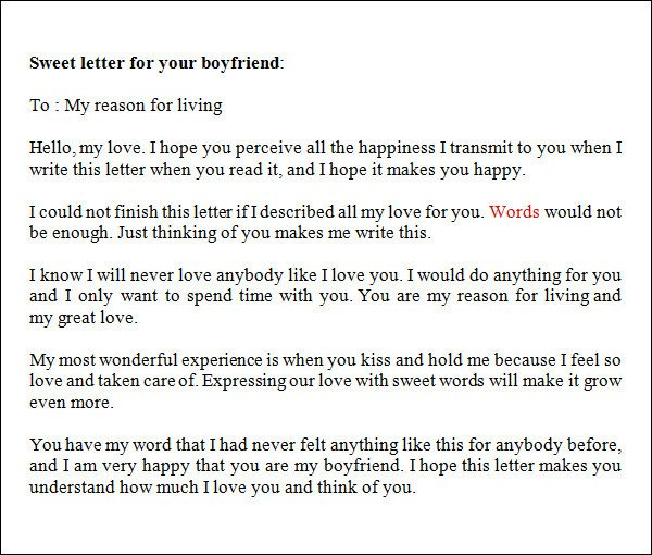 Sweet Letters to Boyfriends Sample Love Letters to Boyfriend 16 Free Documents In