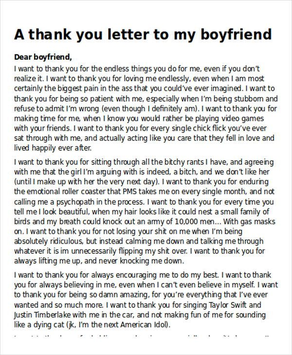 Sweet Letters to Boyfriends Sample Thank You Letter to My Boyfriend 5 Examples In