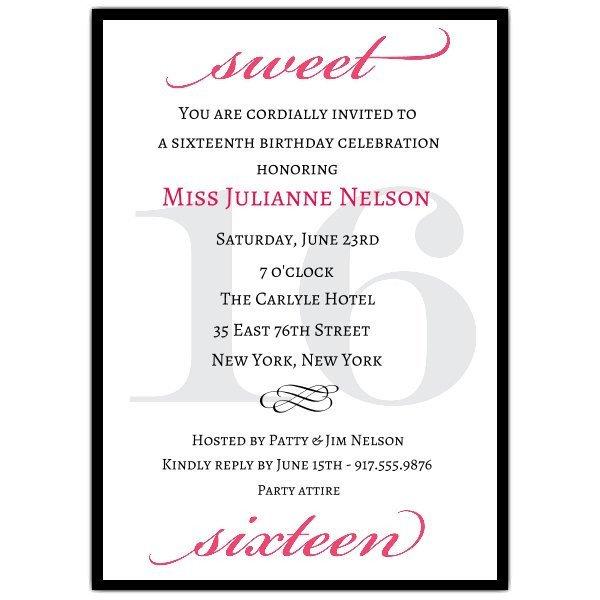 Sweet Sixteen Invitations Templates Classic Pink Sweet 16 Birthday Invitations