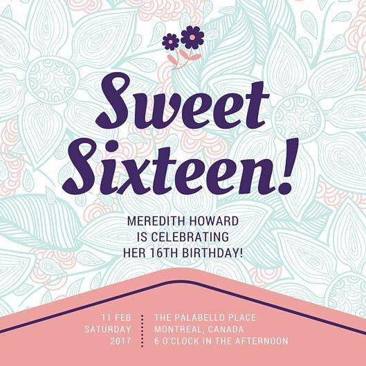 Sweet Sixteen Invitations Templates Customize 545 Sweet 16 Invitation Templates Online Canva