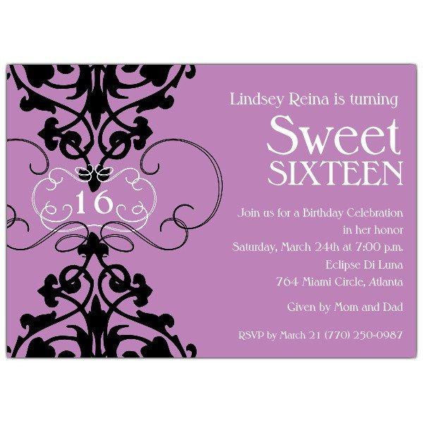 Sweet Sixteen Invitations Templates Fleur Lavender Sweet 16 Invitations