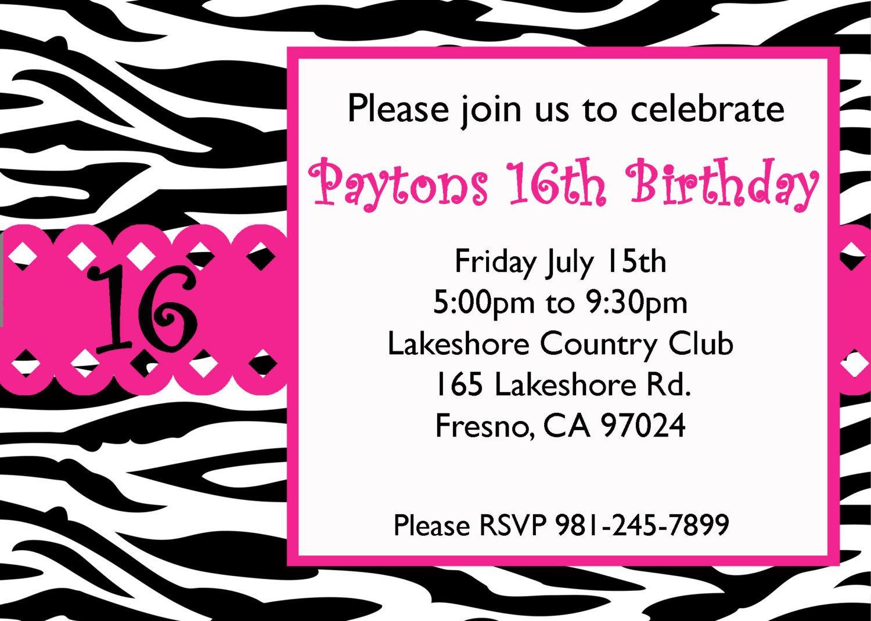 Sweet Sixteen Invitations Templates Free Sweet 16 Birthday Invitations Templates