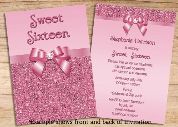 Sweet Sixteen Invitations Templates Items Similar to Printable Sweet 16 Pink Sequins and Bow