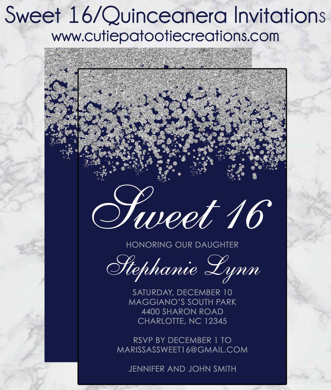 Sweet Sixteen Invitations Templates Sweet 16 Birthday Invitations Quinceanera Invitation Navy