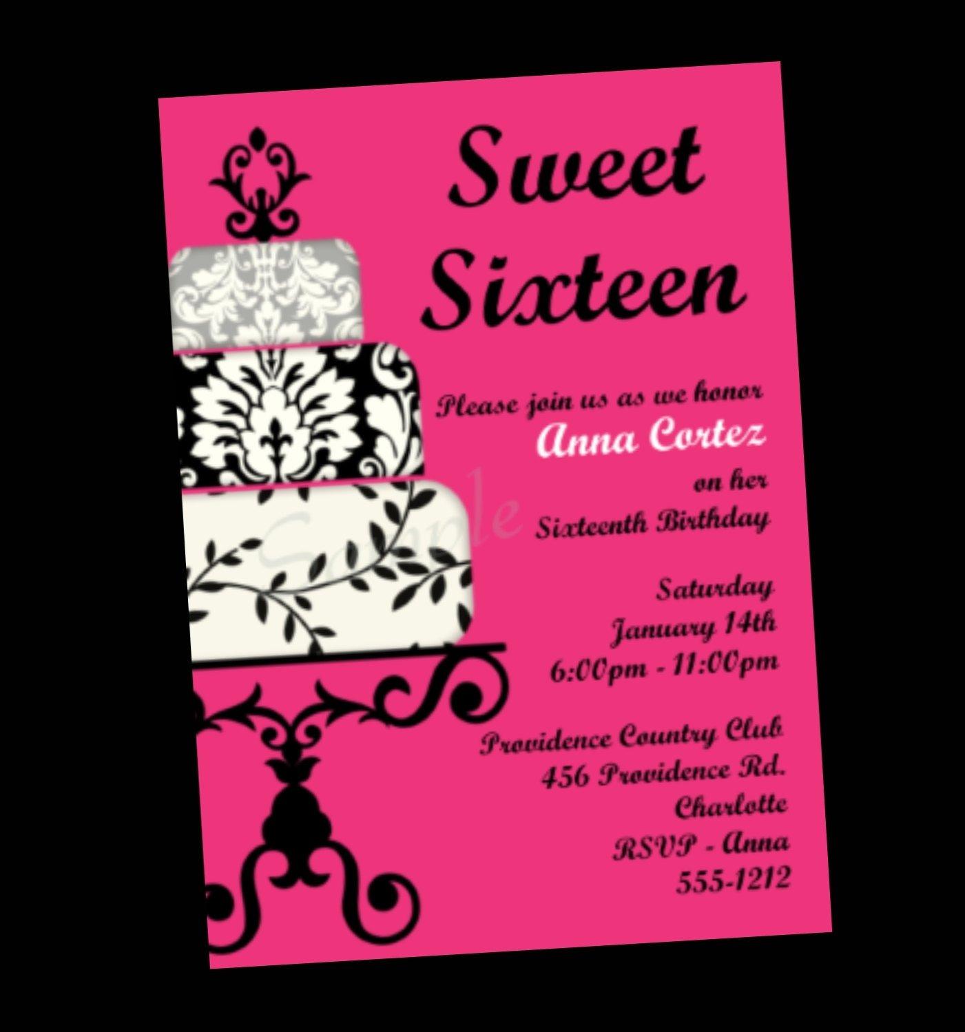 Sweet Sixteen Invitations Templates Sweet 16 Invitation Quotes Quotesgram