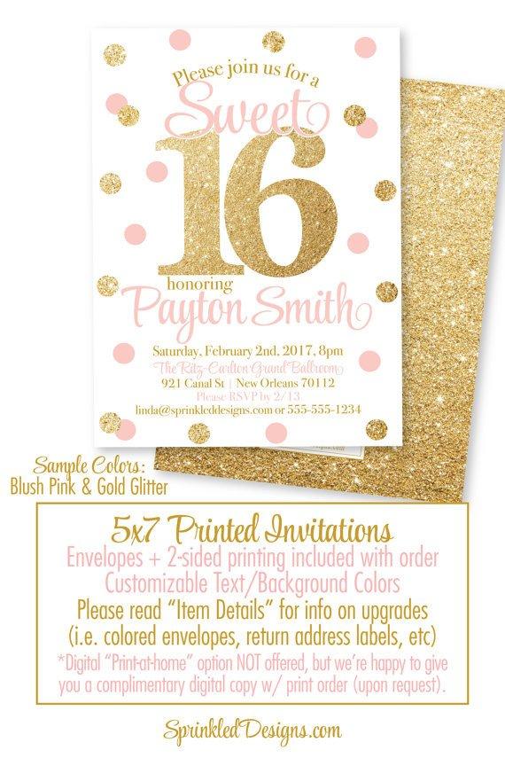 Sweet Sixteen Invitations Templates Sweet 16 Invitations Pink and Gold Glitter Sweet Sixteen