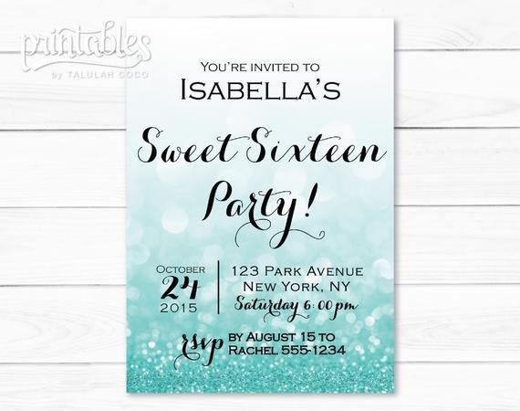 Sweet Sixteen Invitations Templates Sweet Sixteen Invitation Template Digital Sweet 16 Invitation