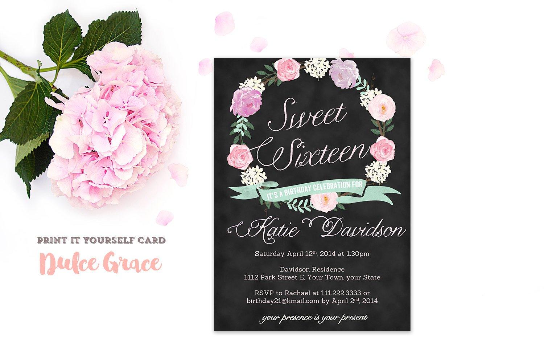 Sweet Sixteen Invitations Templates Sweet Sixteen Invitations Sweet 16 Invitation Printable