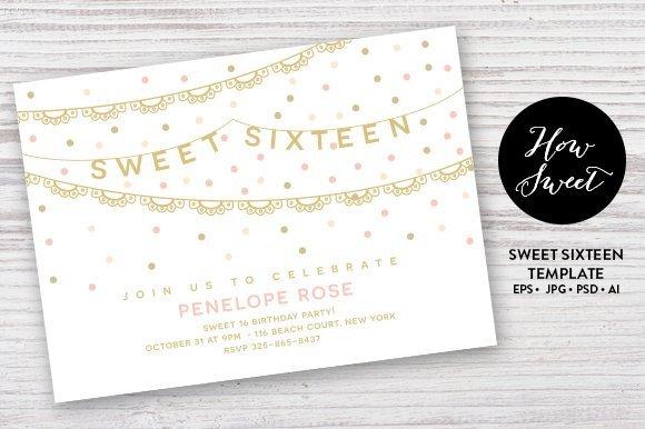 Sweet Sixteen Invitations Templates Sweet Sixteen Party Card Eps Invitation Templates