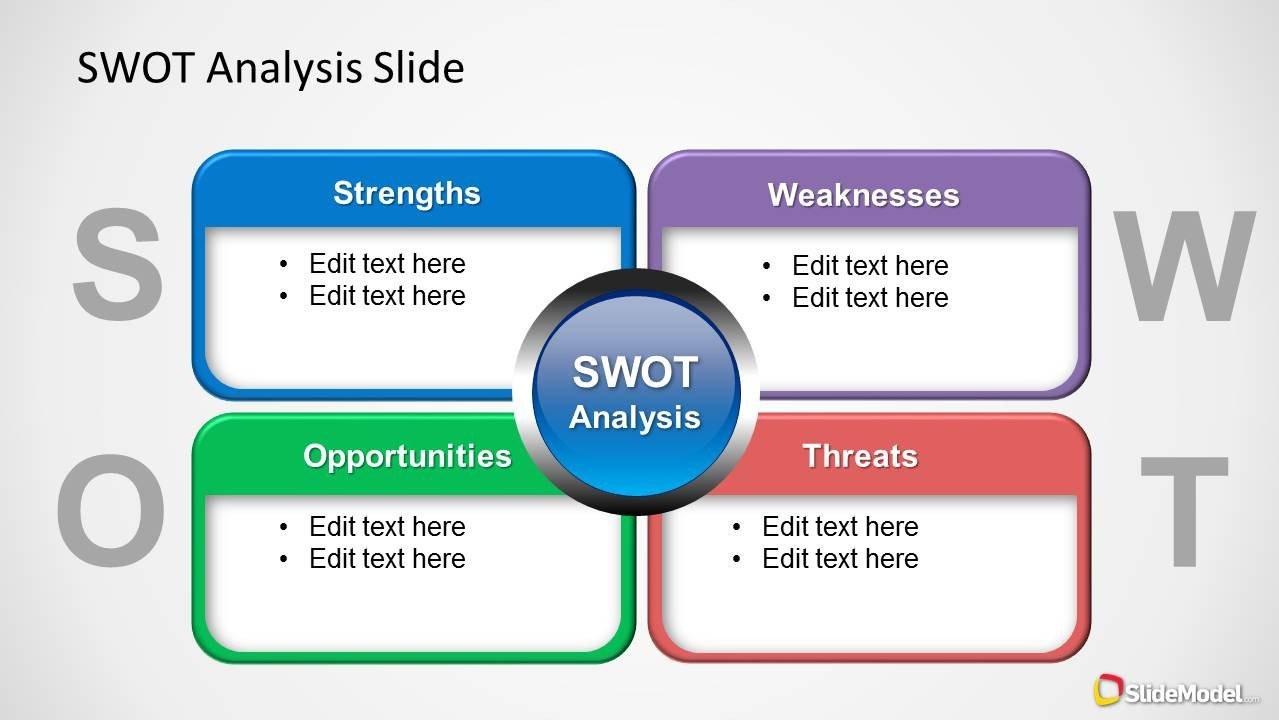 Swot Analysis Template Ppt Colorful Swot Analysis Diagram for Powerpoint Slidemodel
